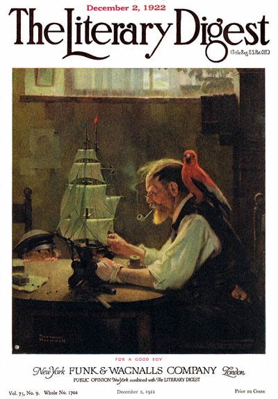 For a Good Boy or Sea Captain Building Ship Model by Norman Rockwell from the December 2, 1922 issue of The Literary Digest