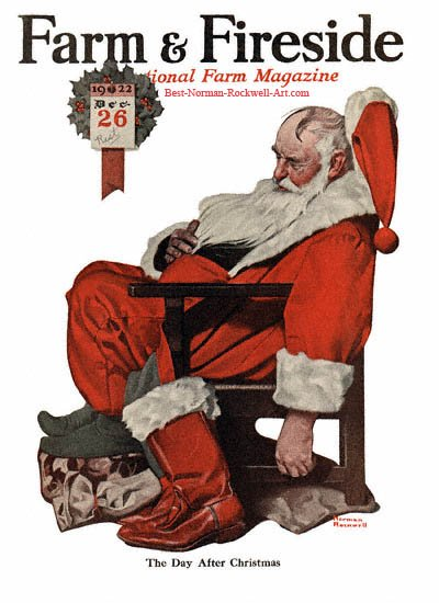 Santa Napping or The Day After Christmas by Norman Rockwell appeared on Farm And Fireside cover December 1922