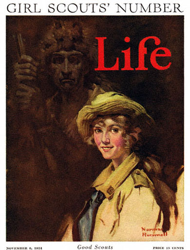 Good Scouts, the Girl Scouts Number, by Norman Rockwell appeared on Life Magazine cover November 8, 1924