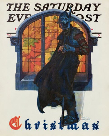 Norman Rockwell: Christmas: Knight Looking In Stained Glass Window