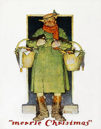 Norman Rockwell: Merrie Christmas: Man with Christmas Goose
