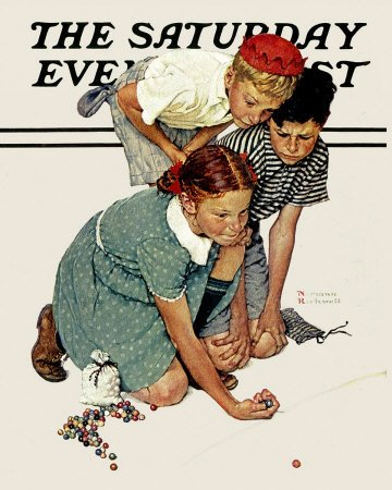 The September 2, 1939 Saturday Evening Post cover by Norman Rockwell entitled Marble Champion