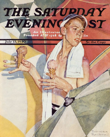 The July 13, 1940 Saturday Evening Post cover by Norman Rockwell entitled Boy With Melting Ice Cream Cones