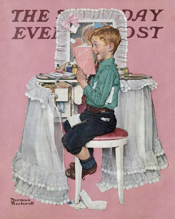 The March 21, 1942 Saturday Evening Post cover by Norman Rockwell entitled Boy Reading Sister's Diary