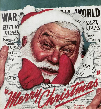 Norman Rockwell: Merry Christmas: Santa Face in Newspaper