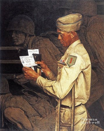 The July 1, 1944 Saturday Evening Post cover by Norman Rockwell entitled Disabled Veteran