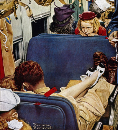 The August 12, 1944 Saturday Evening Post cover by Norman Rockwell entitled Little Girl Observing Lovers On A Train