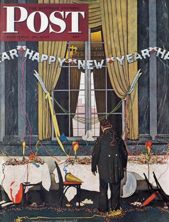 The December 29, 1945 Saturday Evening Post cover by Norman Rockwell entitled Happy New Year