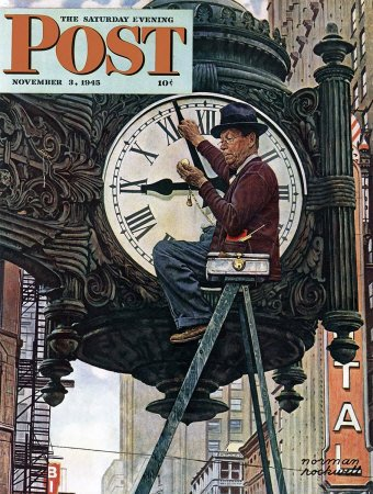 The November 3, 1945 Saturday Evening Post cover by Norman Rockwell entitled Man Setting Clock