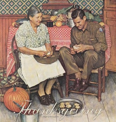 Norman Rockwell: Thanksgiving: Mother and Son Peeling Potatoes