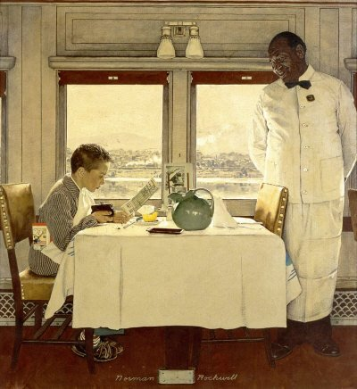 The December 7, 1946 Saturday Evening Post cover by Norman Rockwell entitled Boy In Dining Car