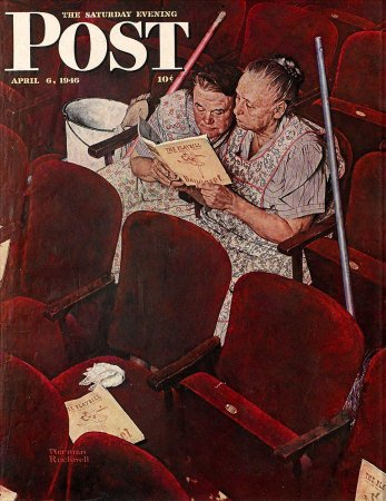 The April 6, 1946 Saturday Evening Post cover by Norman Rockwell entitled Charwomen In Theatre