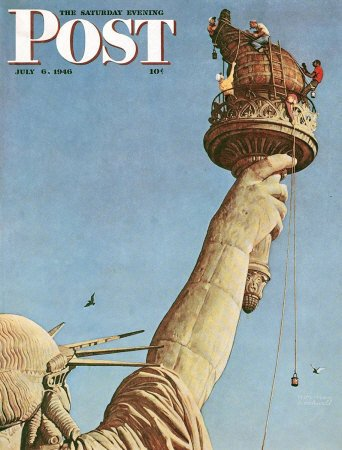 The July 6, 1946 Saturday Evening Post cover by Norman Rockwell entitled Statue of Liberty