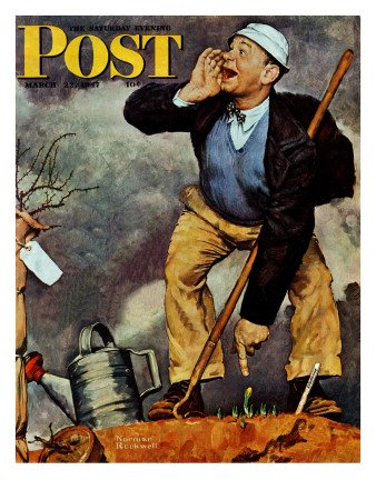 The March 22, 1947 Saturday Evening Post cover by Norman Rockwell entitled First Signs Of Spring