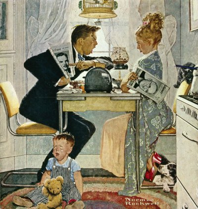 The October 30, 1948 Saturday Evening Post cover by Norman Rockwell entitled Breakfast Table Political Argument