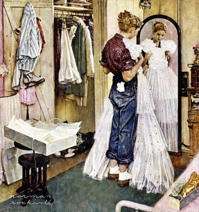 The March 19, 1949 Saturday Evening Post cover by Norman Rockwell entitled Prom Dress