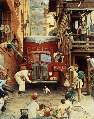 The July 9, 1949 Saturday Evening Post cover by Norman Rockwell entitled Roadblock