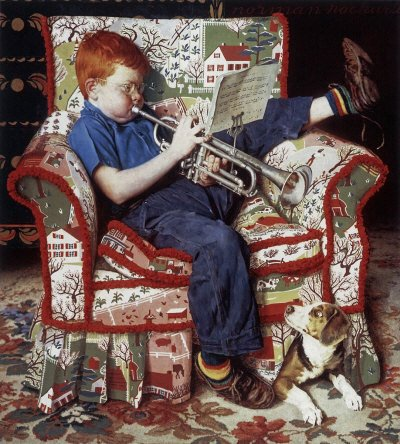 The November 18, 1950 Saturday Evening Post cover by Norman Rockwell entitled Boy Practicing Trumpet