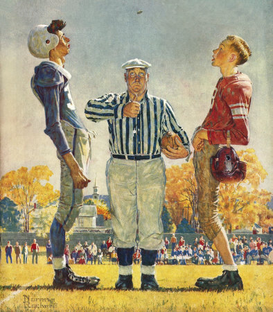 The October 21, 1950 Saturday Evening Post cover by Norman Rockwell entitled The Referee