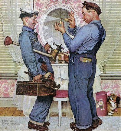 The June 2, 1952 Saturday Evening Post cover by Norman Rockwell entitled Two Plumbers