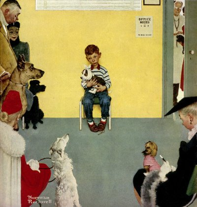The March 29, 1952 Saturday Evening Post cover by Norman Rockwell entitled Boy in Veterinarian's Office