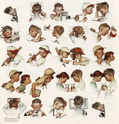 The May 24, 1952 Saturday Evening Post cover by Norman Rockwell entitled Day in the Life of a Little Boy