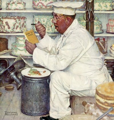 Norman Rockwell: Baker Reading Diet Book