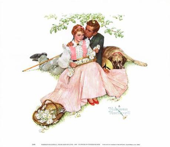The Four Seasons Calendar from 1955 featured this Norman Rockwell illustration, Flowers in Tender Bloom or Courting Couple
