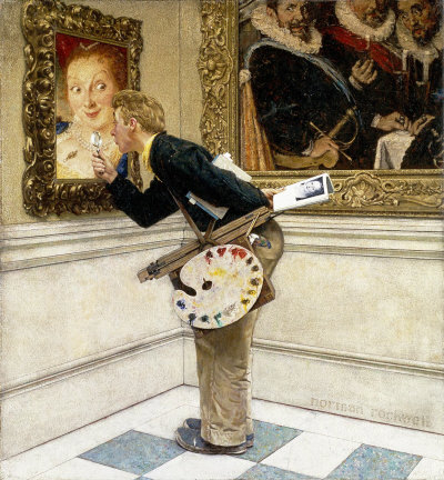 The April 16, 1955 Saturday Evening Post cover by Norman Rockwell entitled Art Critic