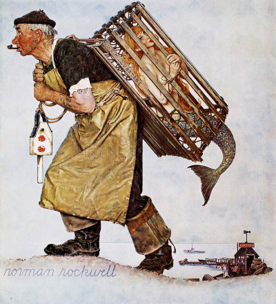 The August 20, 1955 Saturday Evening Post cover by Norman Rockwell entitled Mermaid