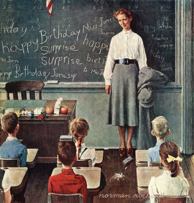 The March 17, 1956 Saturday Evening Post cover by Norman Rockwell entitled Happy Birthday Miss Jones