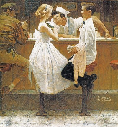 The May 25, 1957 Saturday Evening Post cover by Norman Rockwell entitled After The Prom