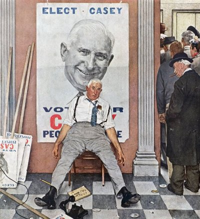 The November 8, 1958 Saturday Evening Post cover by Norman Rockwell entitled Elect Casey