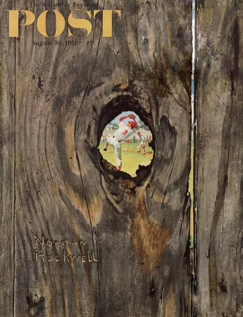The August 30, 1958 Saturday Evening Post cover by Norman Rockwell entitled The Peephole