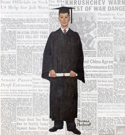 The June 16, 1959 Saturday Evening Post cover by Norman Rockwell entitled Boy Graduate