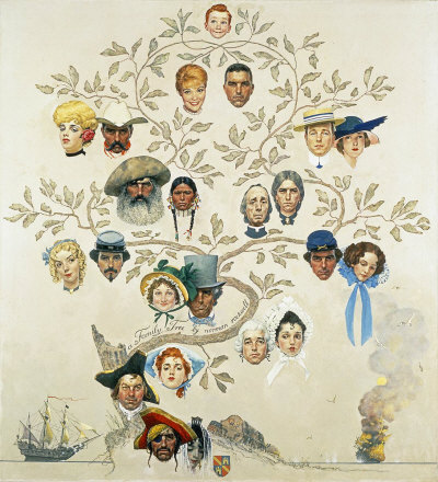 The October 24, 1959 Saturday Evening Post cover by Norman Rockwell entitled Family Tree