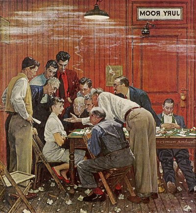 The February 14, 1959 Saturday Evening Post cover by Norman Rockwell entitled The Jury