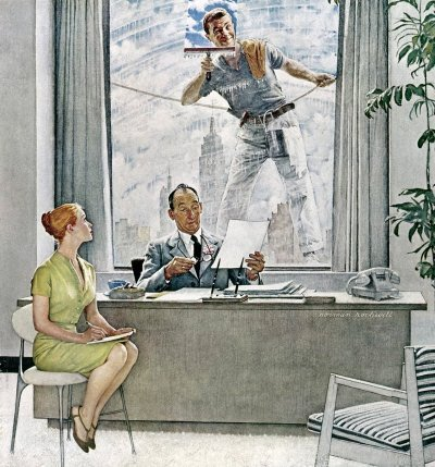 The September 17, 1960 Saturday Evening Post cover by Norman Rockwell entitled Window Washer